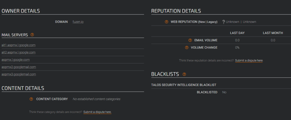 check sender reputation on talointelligence.com