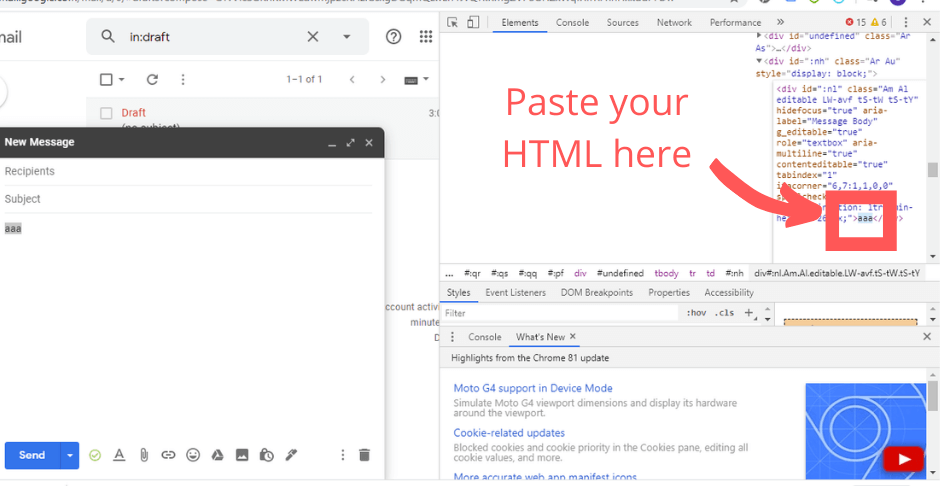 Save HTML in your Gmail draft