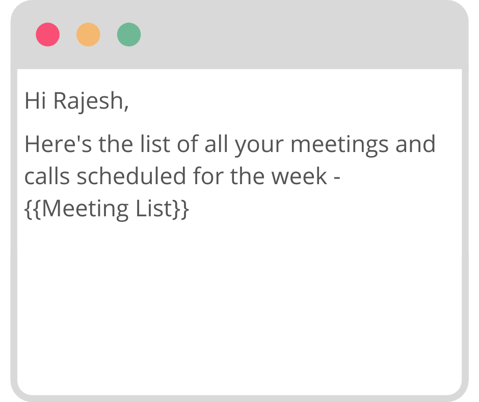 weekly meetings schedule