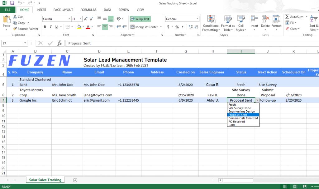 solar lead management excel template